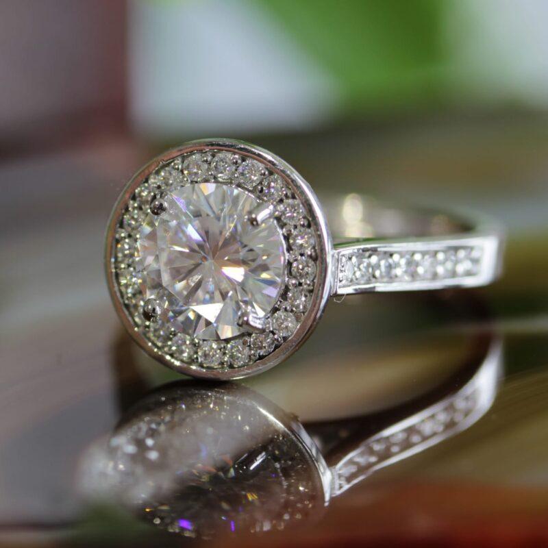 Ethical Halo Diamond Ring - Ava