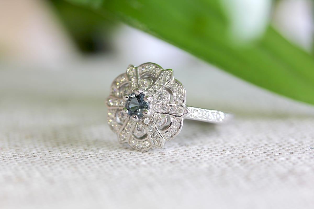 Edwardian Inspired Ethical Diamond Sapphire Ring