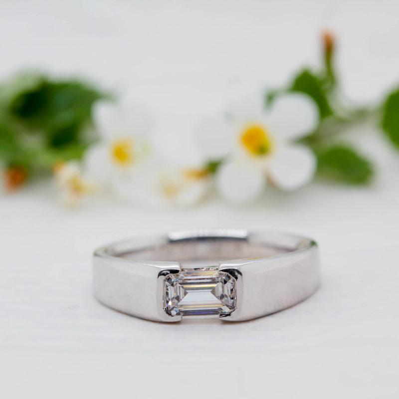 Lab Grown Emerald Diamond Ring - Abilene - Ethica Diamonds Cornwall
