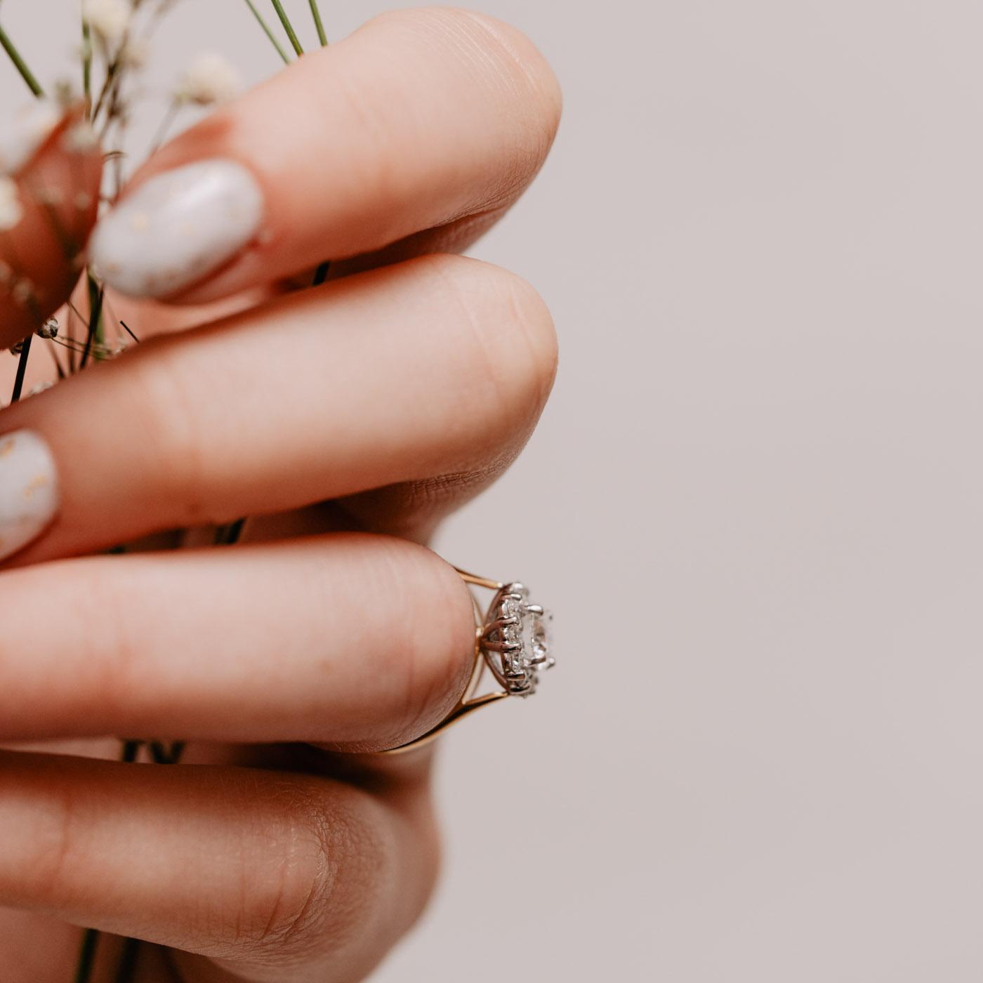 Earth Friendly Diamond Alternative Ring | Dahlia | Ethica Diamonds UK