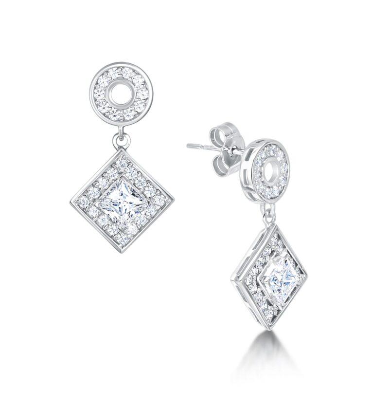 Unique Princess Diamond Earrings - Aura