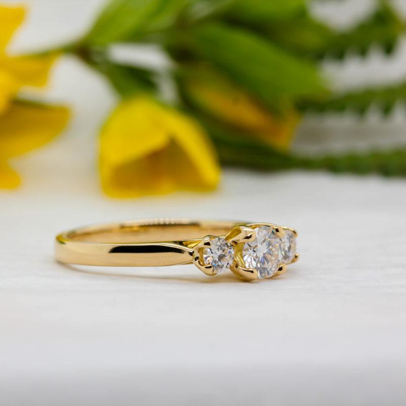 Ethical Certified Diamond Trilogy Ring - Felicia - Ethica Diamonds UK
