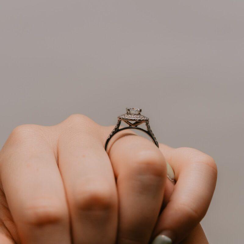 Double Halo Engagement Ring   Luna   Ethica Cornwall UK