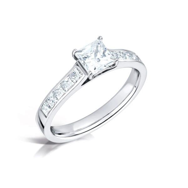 Man Made Diamond Princess Cut Engagement Ring - Nicole