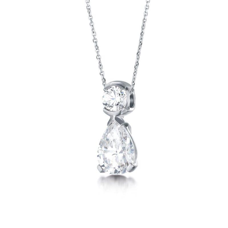 Sustainable Pear Cut Diamond Pendant - Emelina