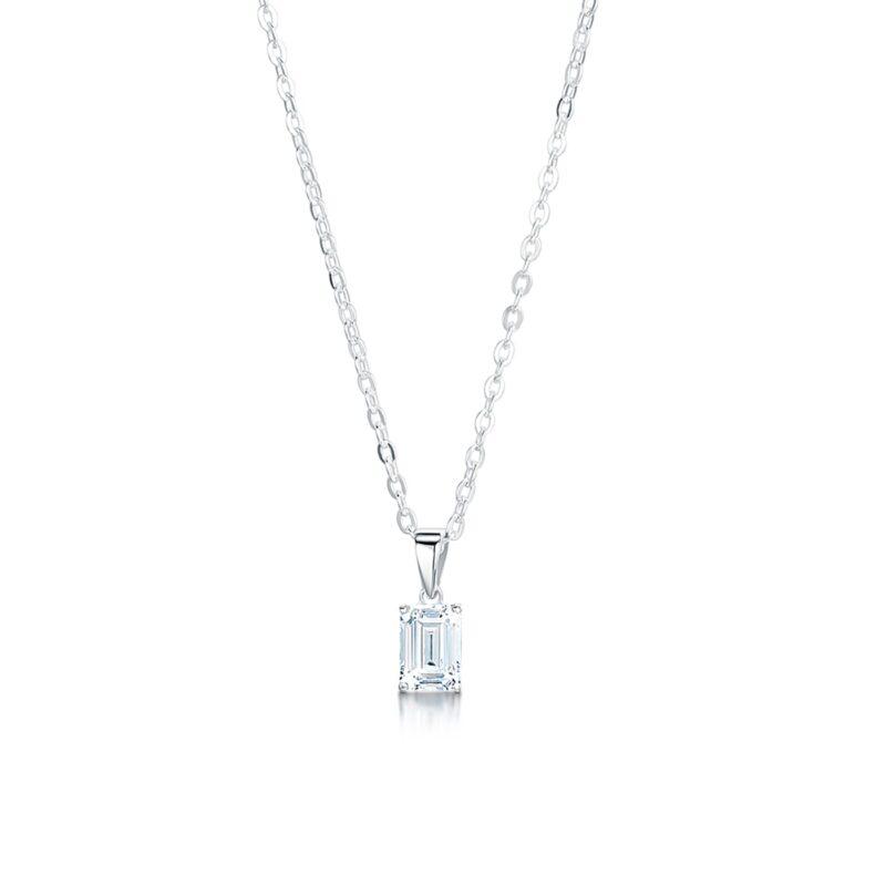 Ethical Emerald Cut Diamond Pendant - Hebe
