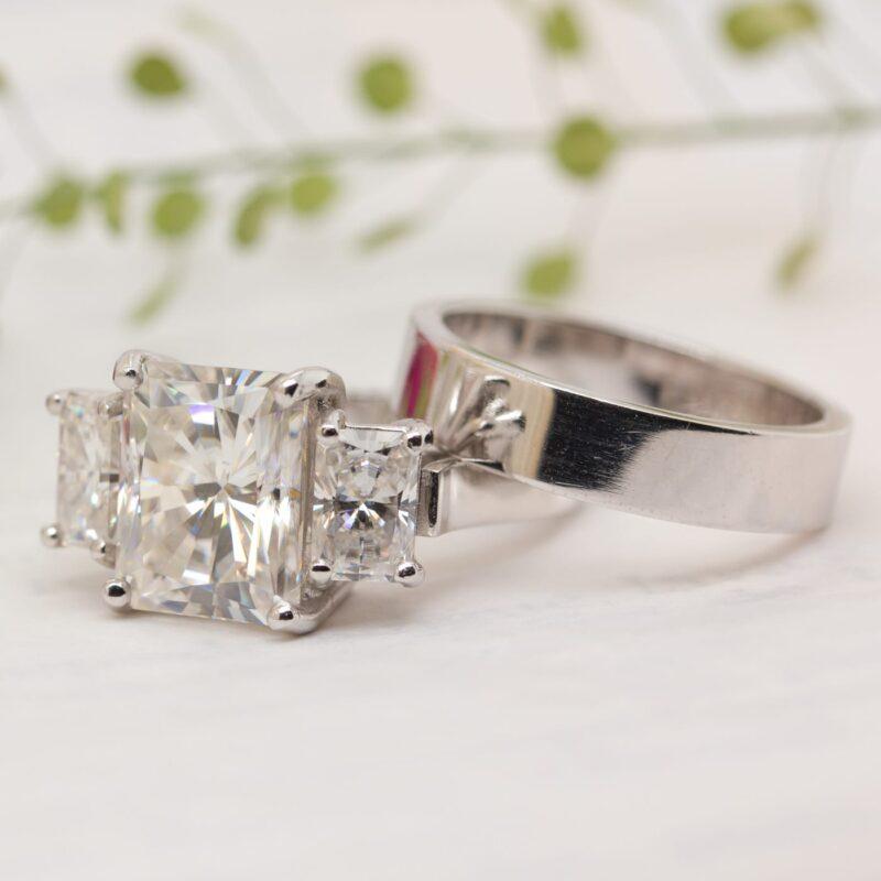Emerald Radiant Lab Grown Gemstone Bridal Set | Ethica Diamonds UK