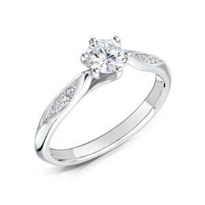 Man Made Round Brilliant Diamond Engagement Ring - Celia