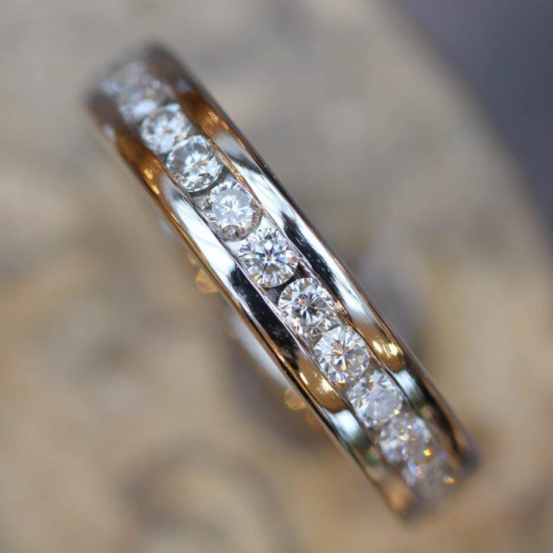 Man Made Diamond Wedding Ring - Corona Half Set 4.0mm