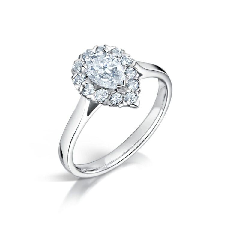 Pear Cut Synthetic Diamond Ring - Hala