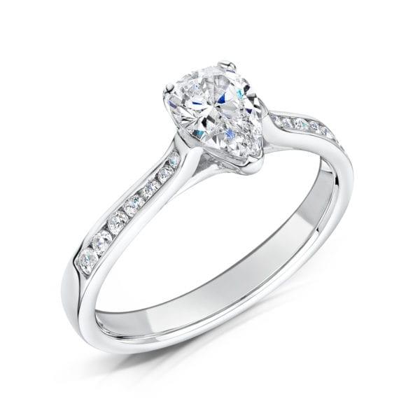 Vegan Friendly Pear Cut Diamond Engagement Ring - Irene