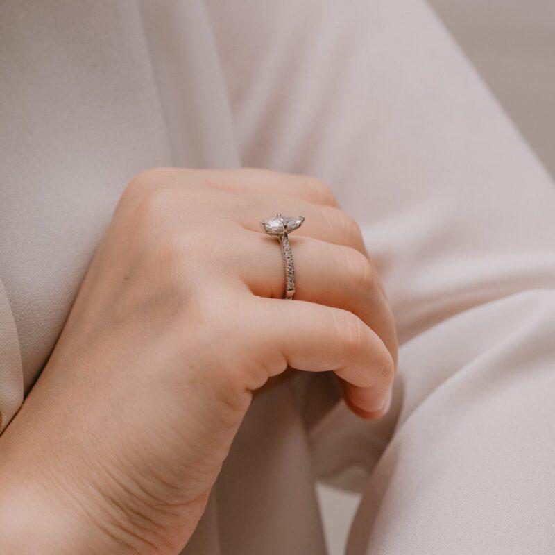 Sustainable Diamond Alternative Engagement Ring | Nouveau | Ethica Cornwall
