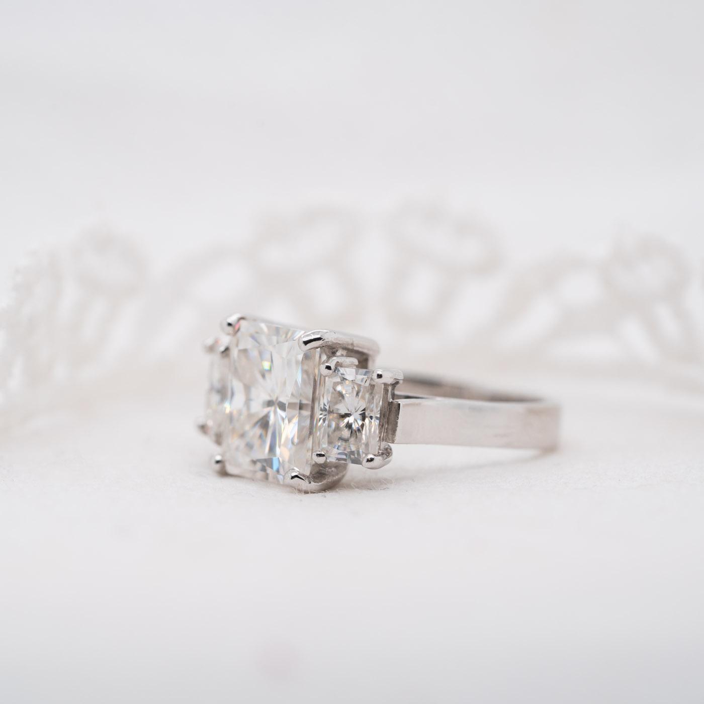 Emerald Radiant Lab Grown Gemstone Bridal Set   Ethica Diamonds UK