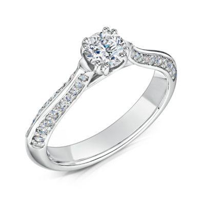 Unique Diamond Shoulder Set Engagement Ring - Zahira
