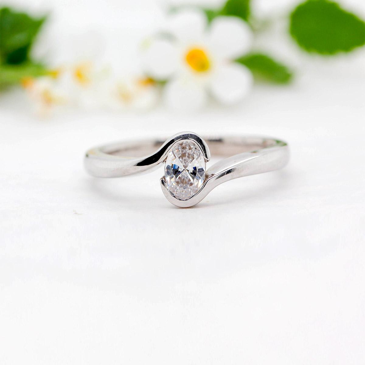 Synthetic Oval Cut Diamond Ring - Coralie - Ethica Diamonds Cornwall UK