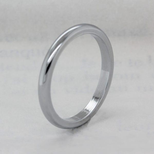 Vegan friendly 2.0mm Recycled Metal D Shape Wedding Ring - Ethica Diamonds
