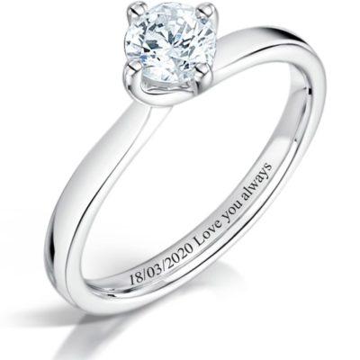 Engraved engagement wedding band ring