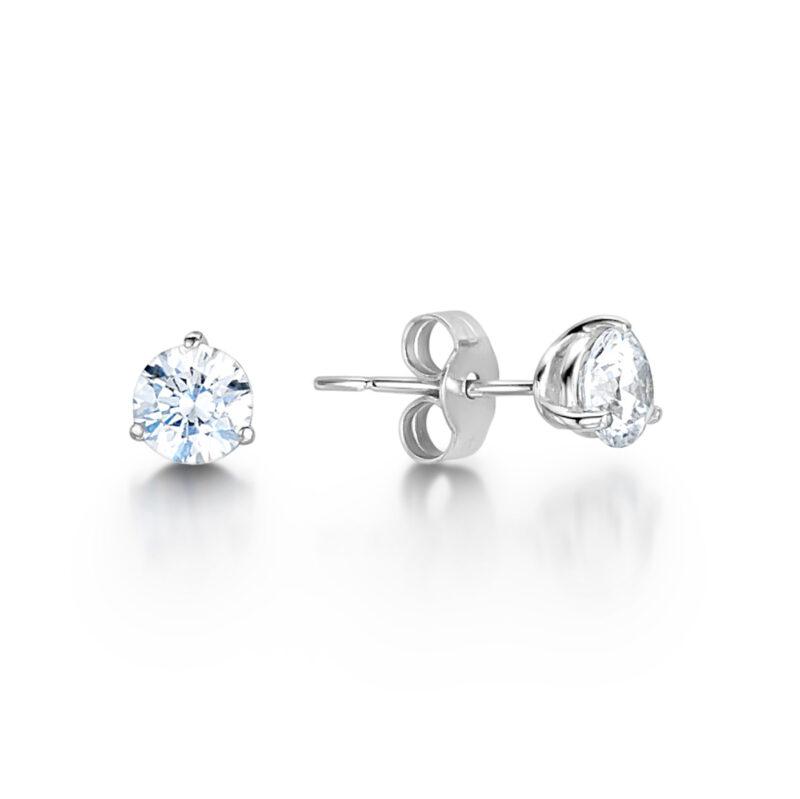 Round Brilliant Three Claw Solitaire Earrings | Martini | Ethica Diamonds