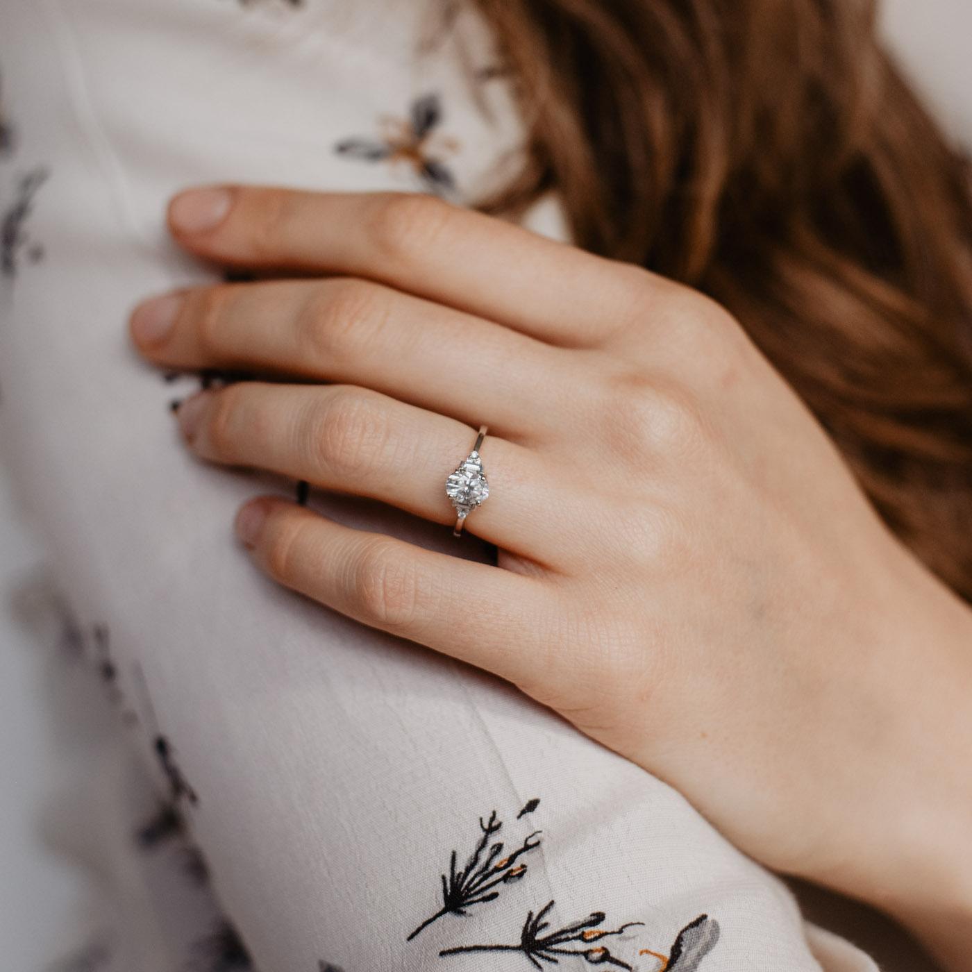 Art-Deco Multi-Stone Oval Engagement Ring | Amber | Ethica Diamonds