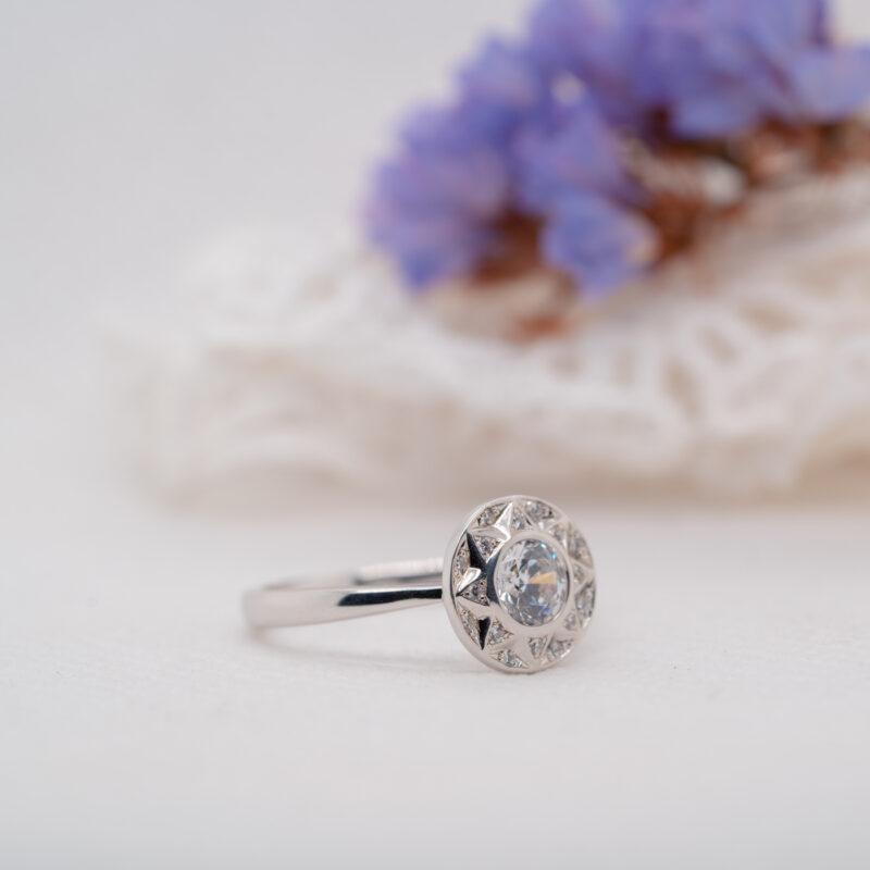 Ethical Starburst Halo Diamond Ring | Aurora | Ethica Diamonds UK