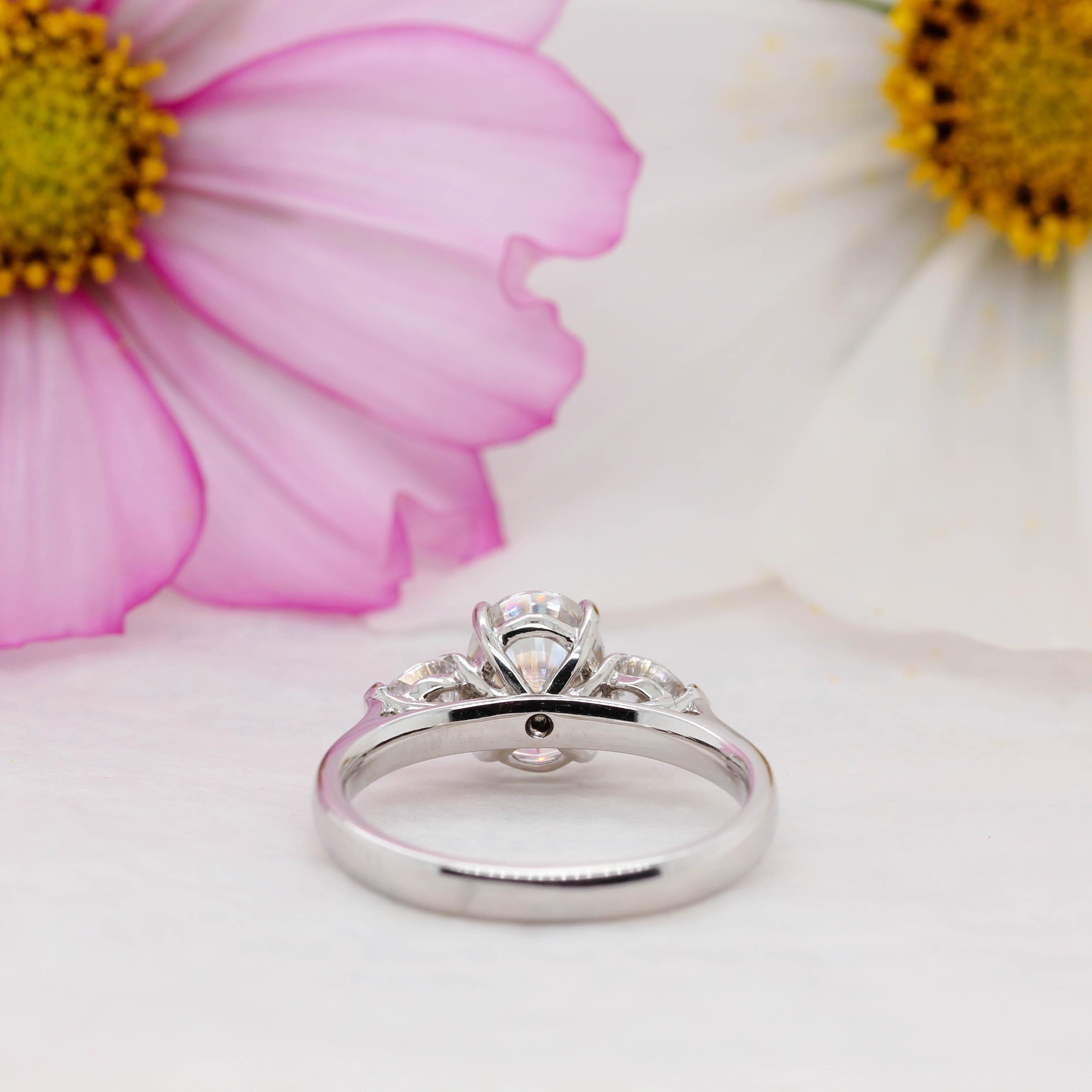 Three Stone Cushion & Pear Cut Engagement Ring | Nancy | Ethica Diamonds