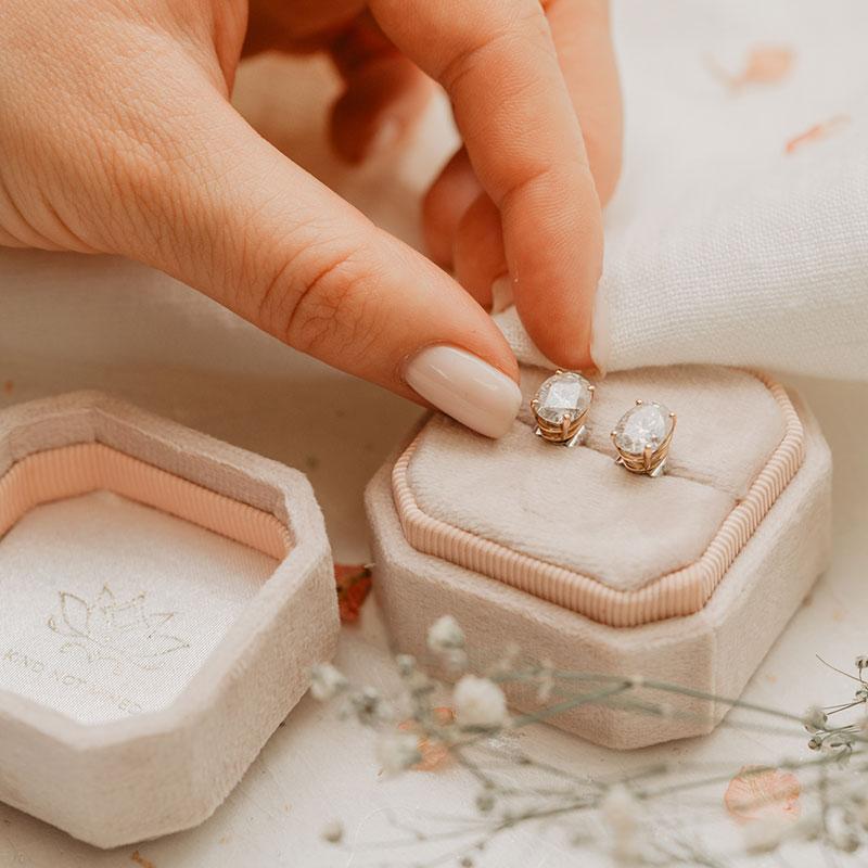 Four Claw Ethical Diamond Oval Cut Earrings called Calia