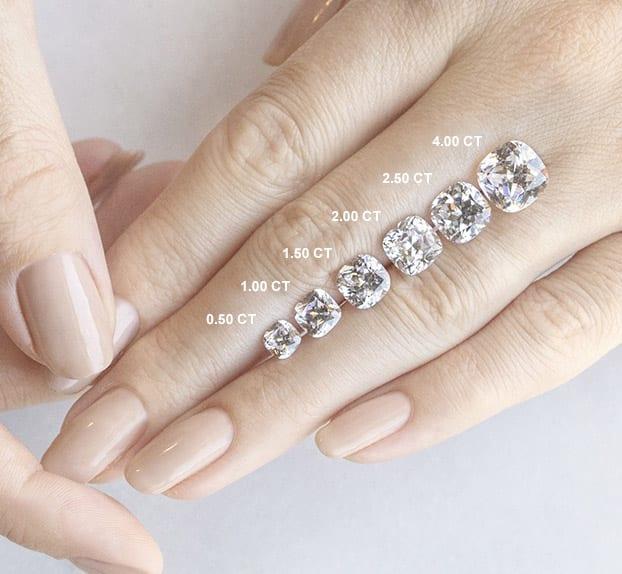 Cushion Cut Carat Weights - Lab Grown Diamonds & Fine Diamond Alternatives | Ethica Diamonds UK