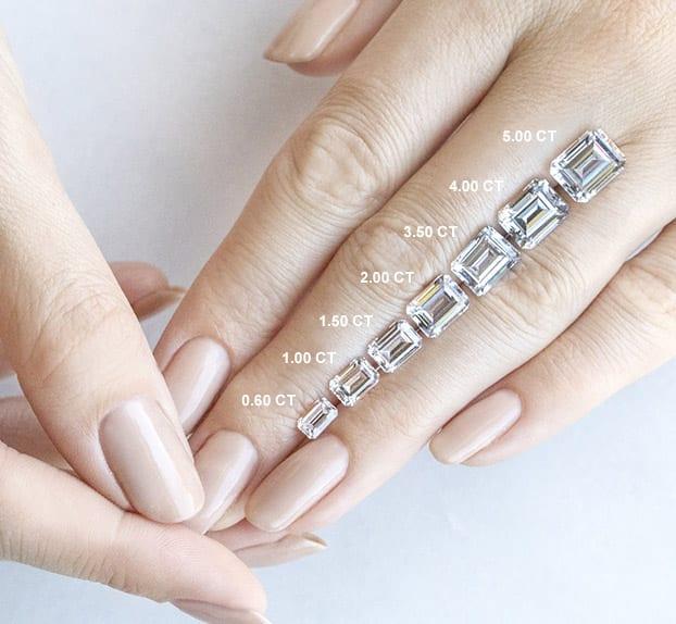 Emerald Cut Carat Weights - Lab Grown Diamonds & Fine Diamond Alternatives | Ethica UK