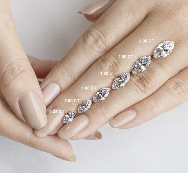 Marquise Cut Carat Weights - Lab Grown Diamonds & Fine Diamond Alternatives | Ethica Diamonds UK