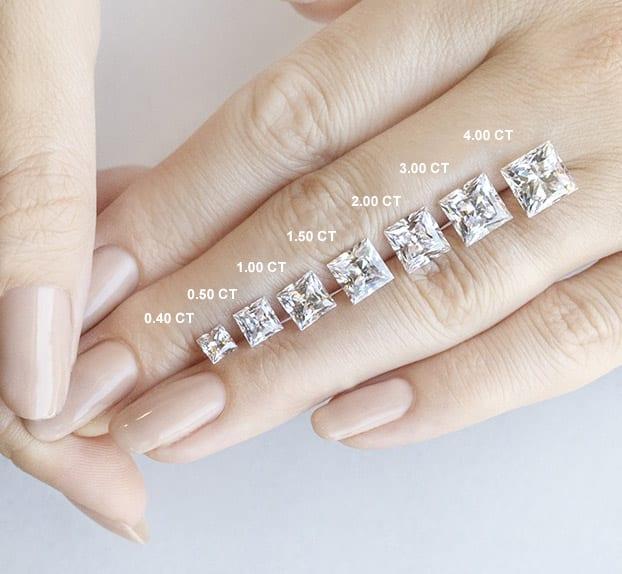 Princess Cut Carat Weights - Lab Grown Diamonds & Fine Diamond Alternatives | Ethica Diamonds UK